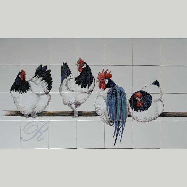 4 black and white chickens on a stick