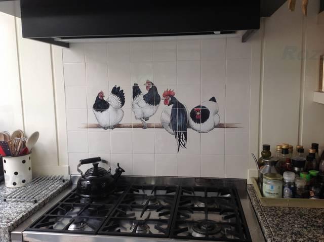RH28-2, 4 black and white chicken