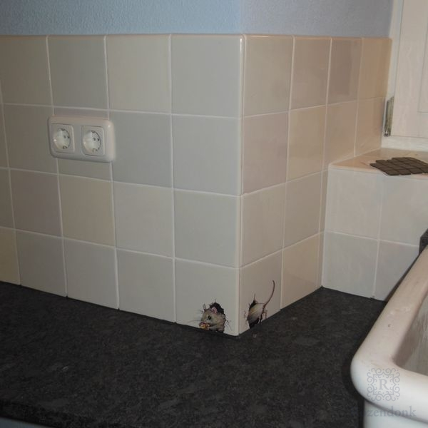 Many mice on tiles in the kitchen