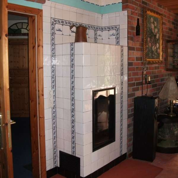 German heating stove covered with tiles