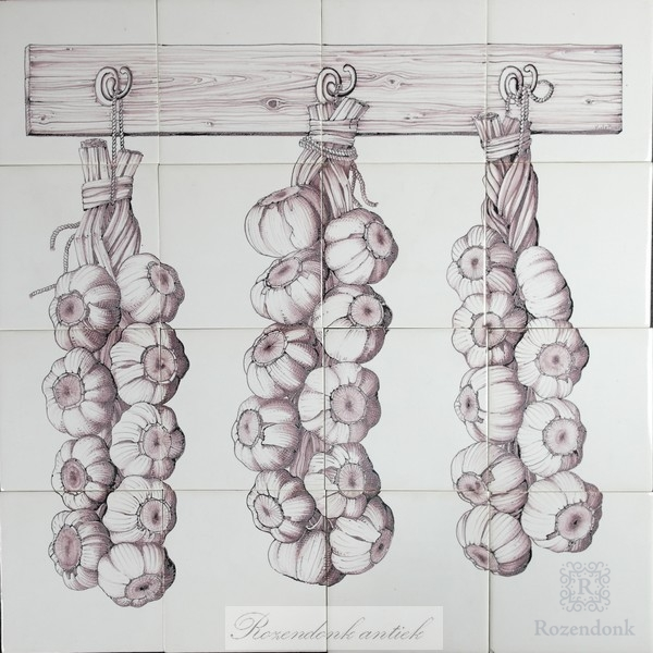 RH17, garlic hanged to dry painted on 12 tiles