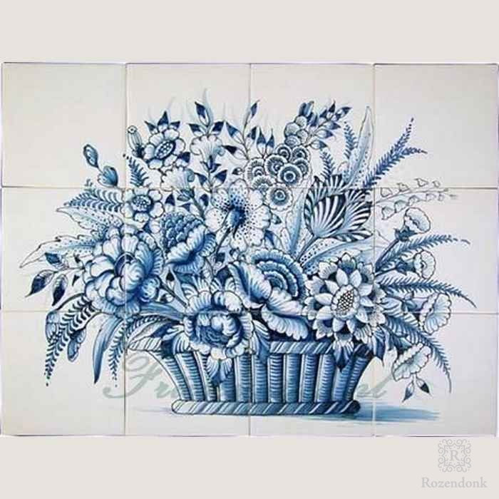 RF12-10 decorative basket with flowers painted on 12 tiles