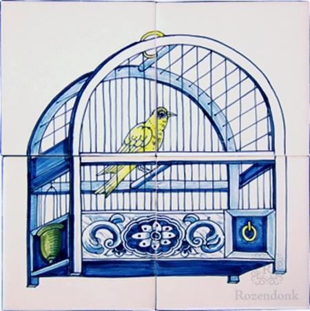 RF4-8a antique motif of a birdcage on 4 tiles