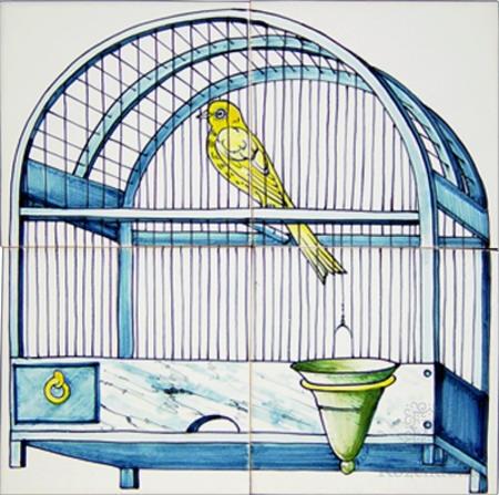 RF4-8d antique motif of a birdcage on 4 tiles