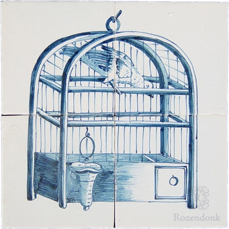 RF4-8f antique motif of a birdcage on 4 tiles