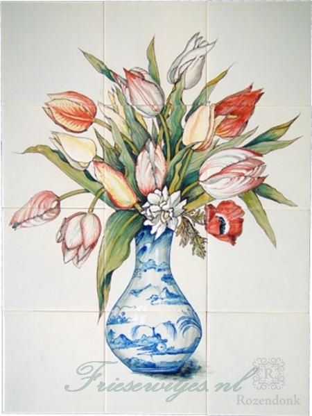 RH12-28 Delfterblue vase with tulips