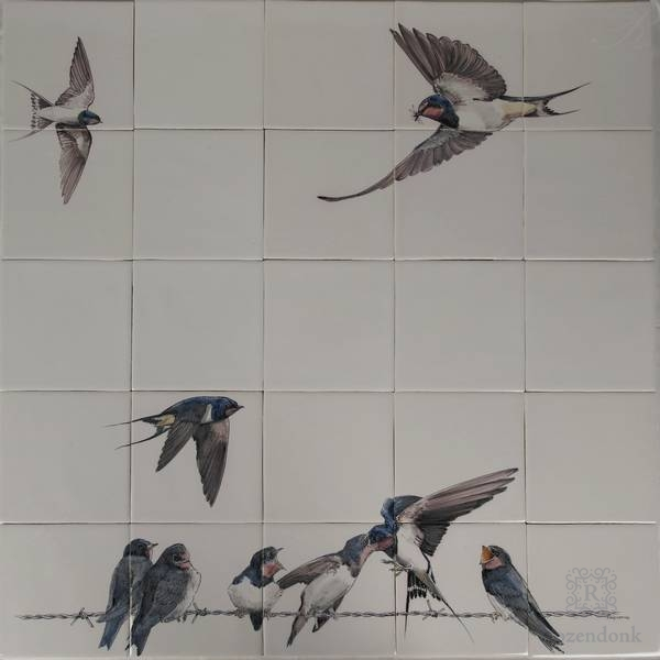 RH25-3 swallows with youngsters on 25 tiles