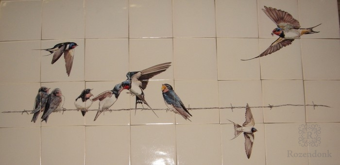 Swallow familie on 8x4 tiles