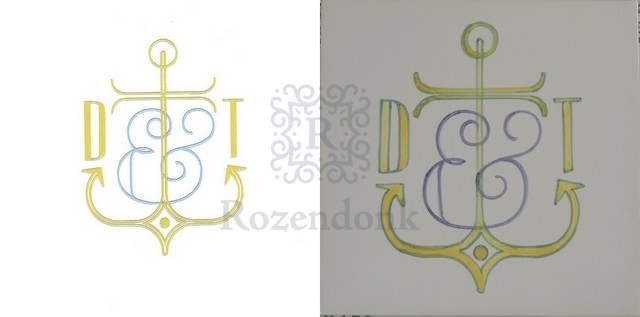Logo printed or painted on tiles