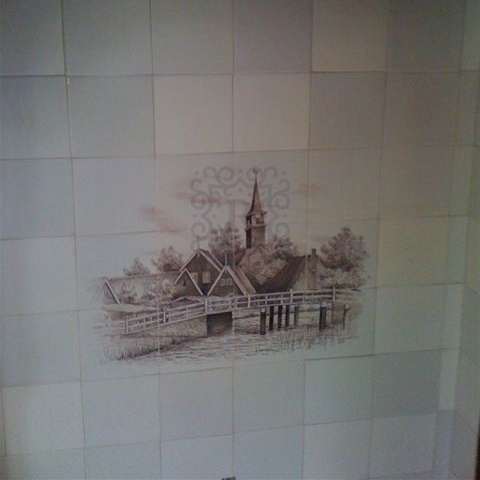 Your village hand painted on tiles