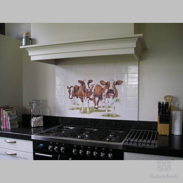 4 cows behind the stove