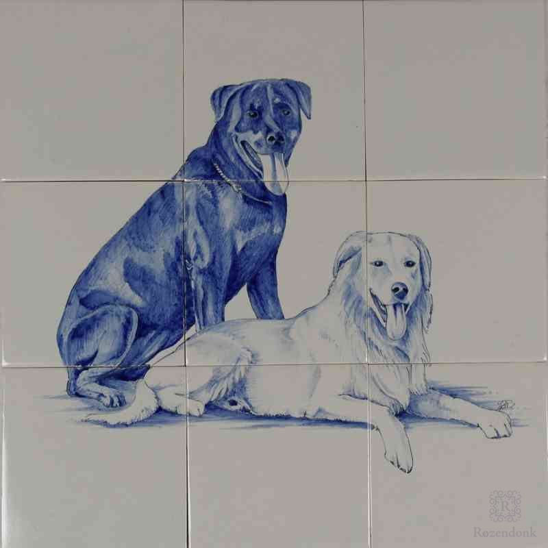 RH9, 2 dogs on tiles