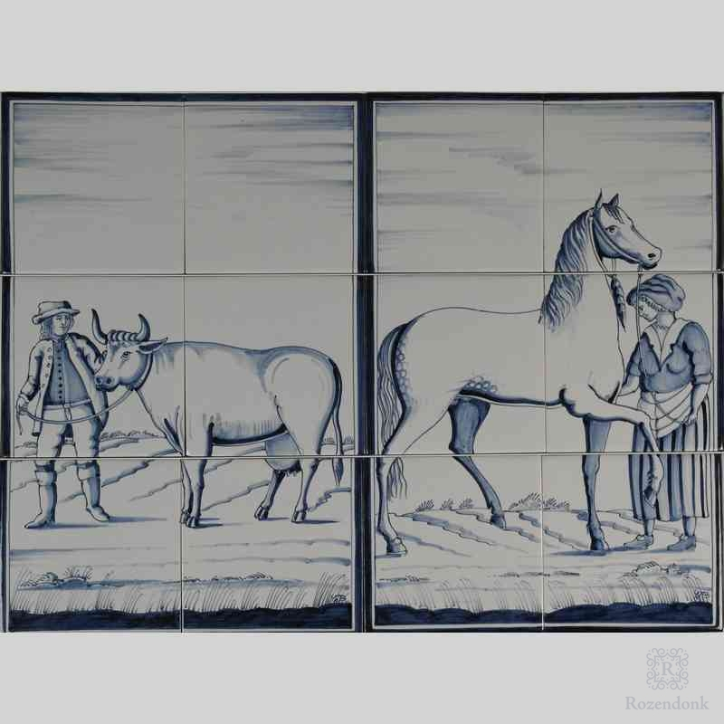 RF6-8/9 Farmer with a cow and wife with a horse