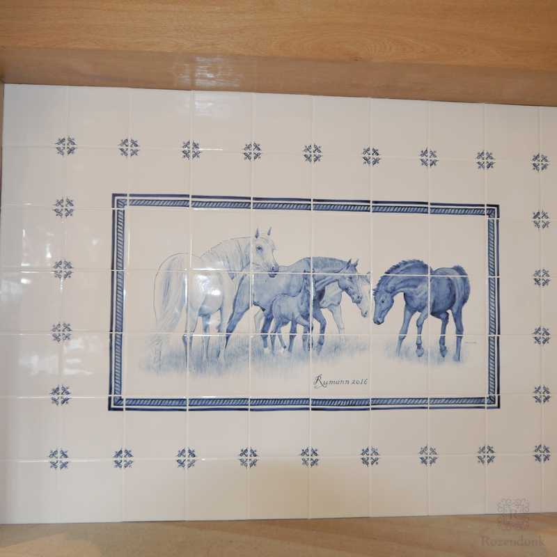Horses tiled on the chimney wall