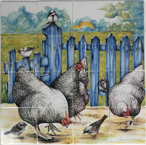 RH16-S, Chickens with sparrows