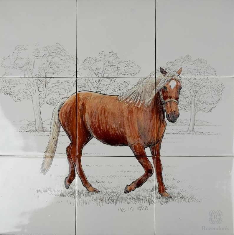Horse painted on 9 tiles