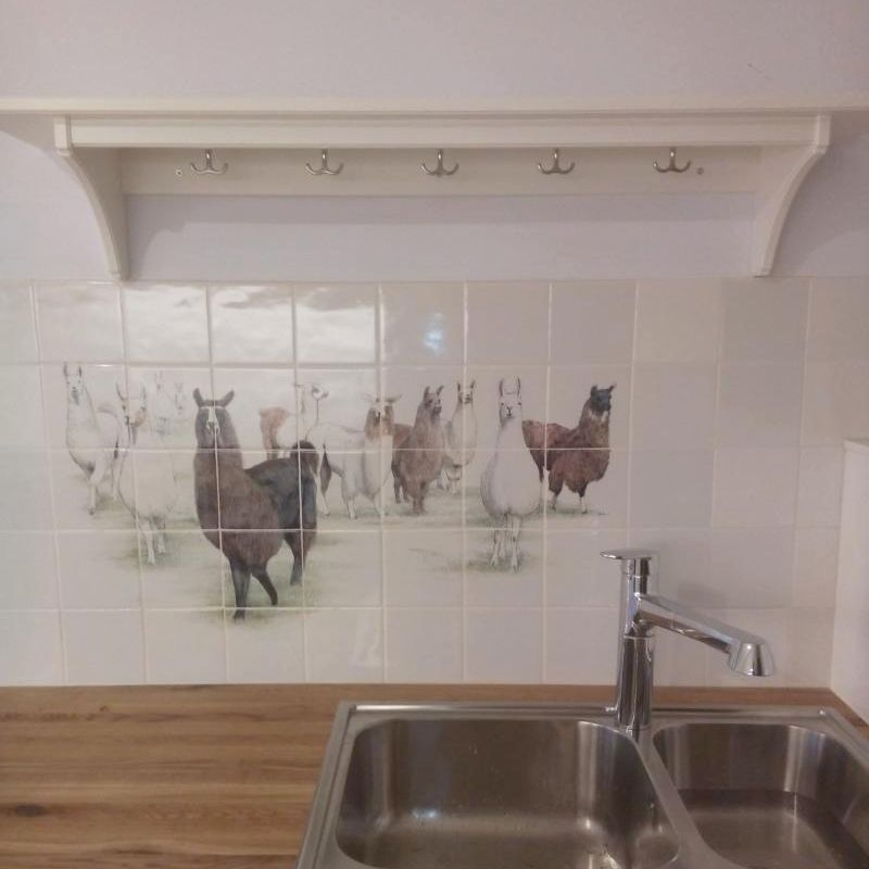 Lamas painted on tiles