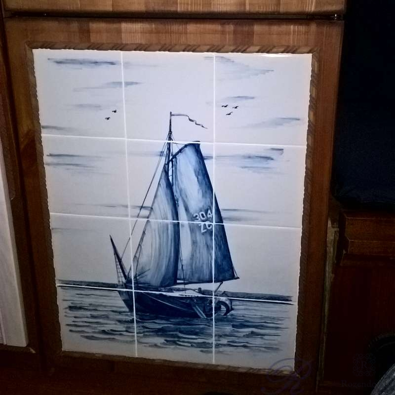 Tile mural with old ship