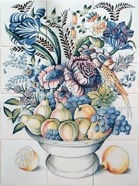 RH12-20 bowl with fruit and flowers