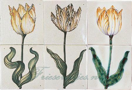 RH2-9 Tulips painted on 2 tiles
