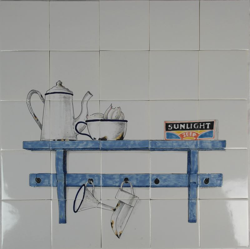 RH20-25 Old shelf with enamel kitchenware