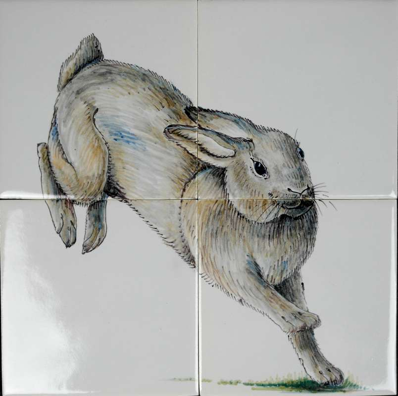 RH4-9 Hare painted on 4 tiles