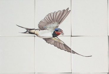 Flying swallow hand painted on 6 tiles