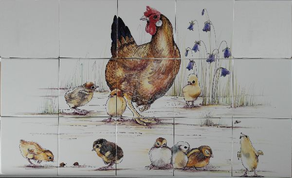 RH9-6k, Hen with little chicks hand painted on 9 tiles