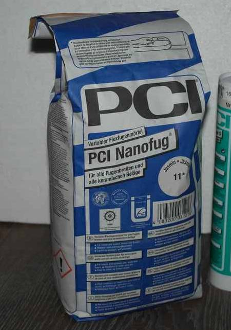 PCI Nanofug grout and the kit sealant