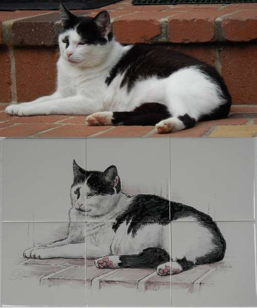 Favourite cat painted on tiles