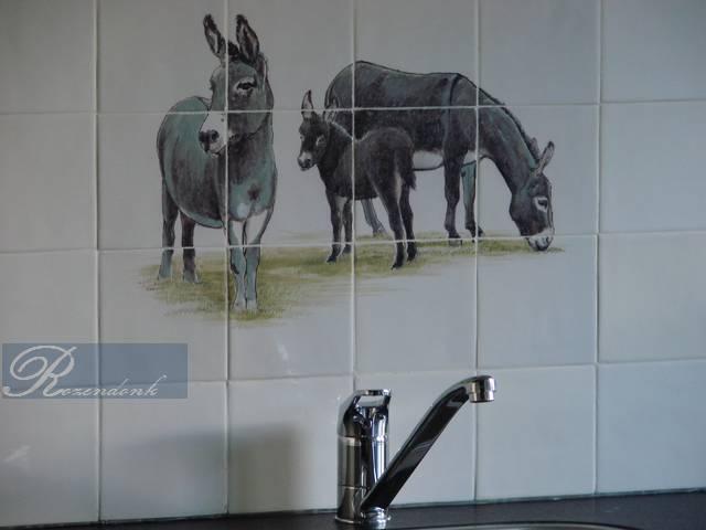 Donkey family painted
