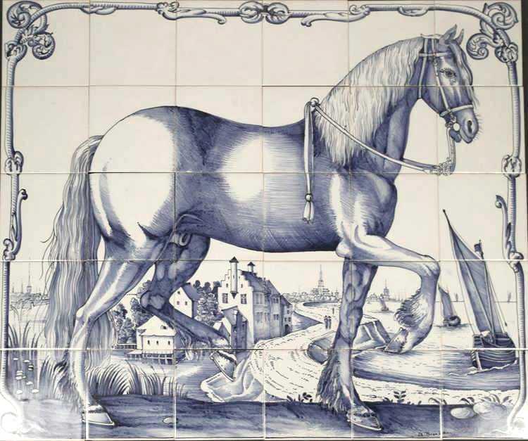 Frysian horse on 30 tiles