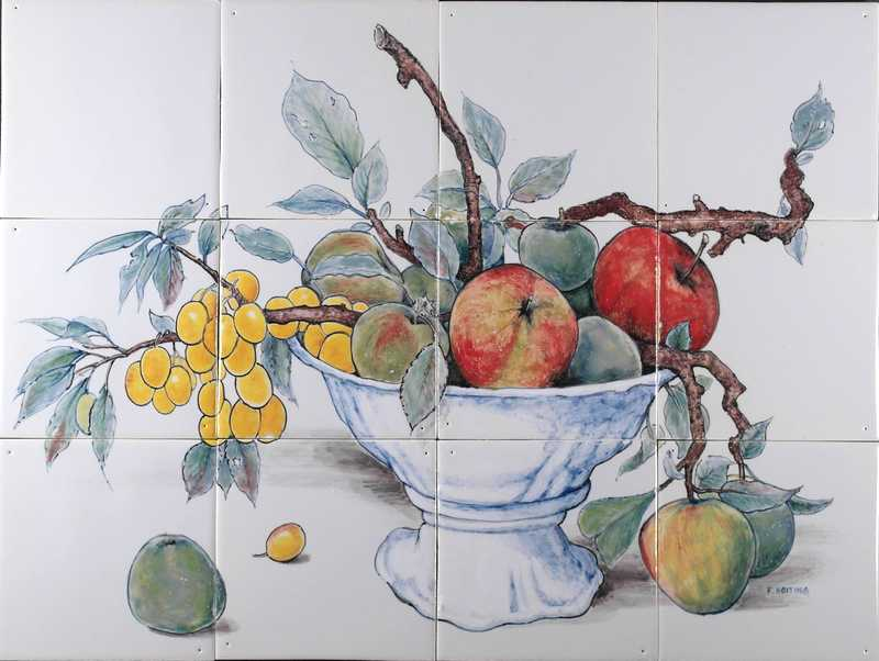 Bowl with fruit and branch