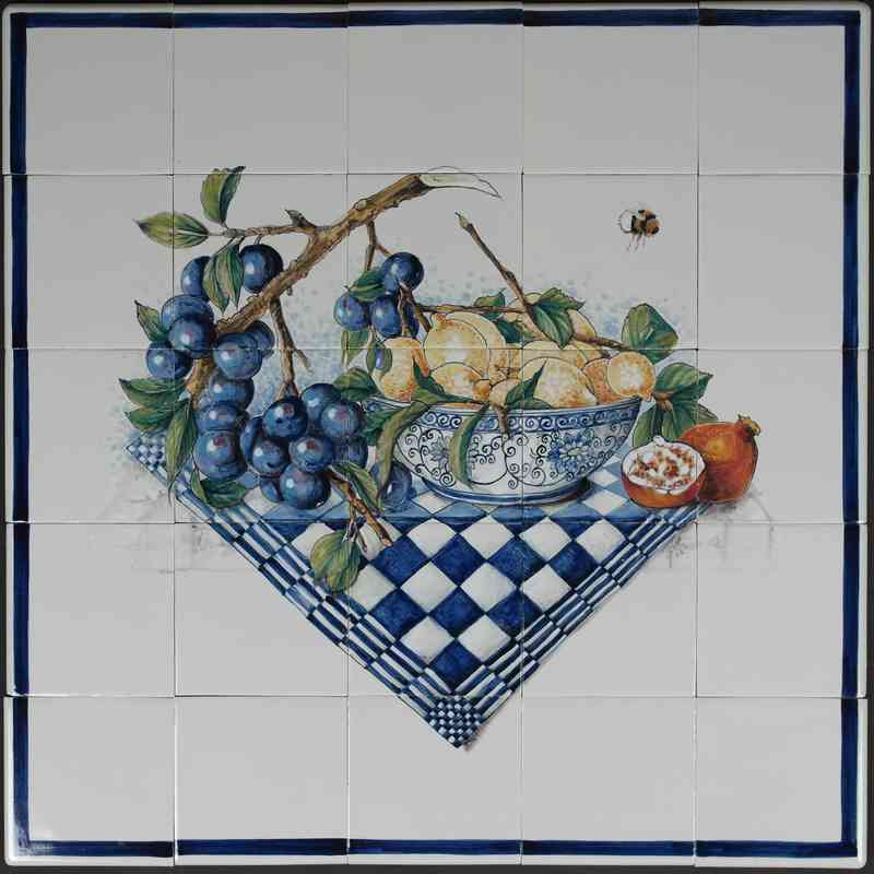 RH16-12 Delft blue bowl with fruit and a plum branch
