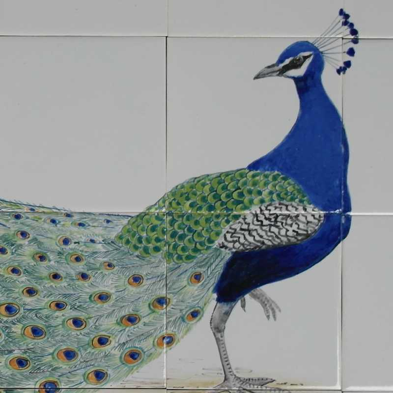 Peacock on tiles