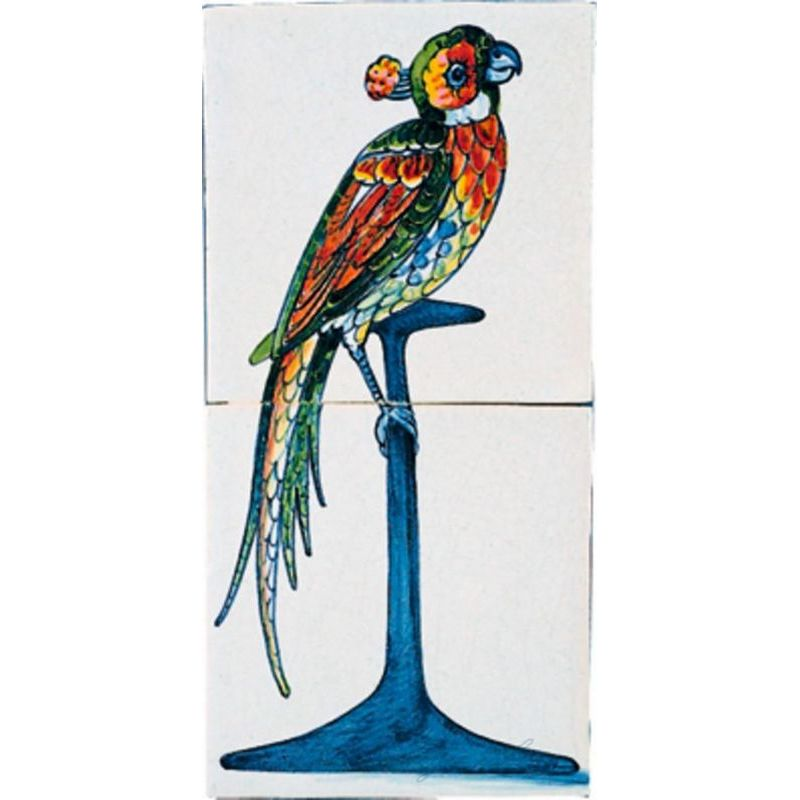 RM2-1, Parrot painted on two tiles, around 1700
