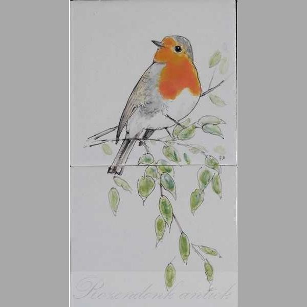 Robin hand painted on two tiles,