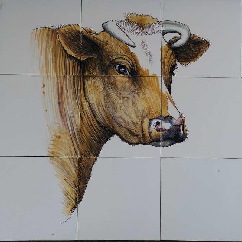 Cow head on 9 tiles